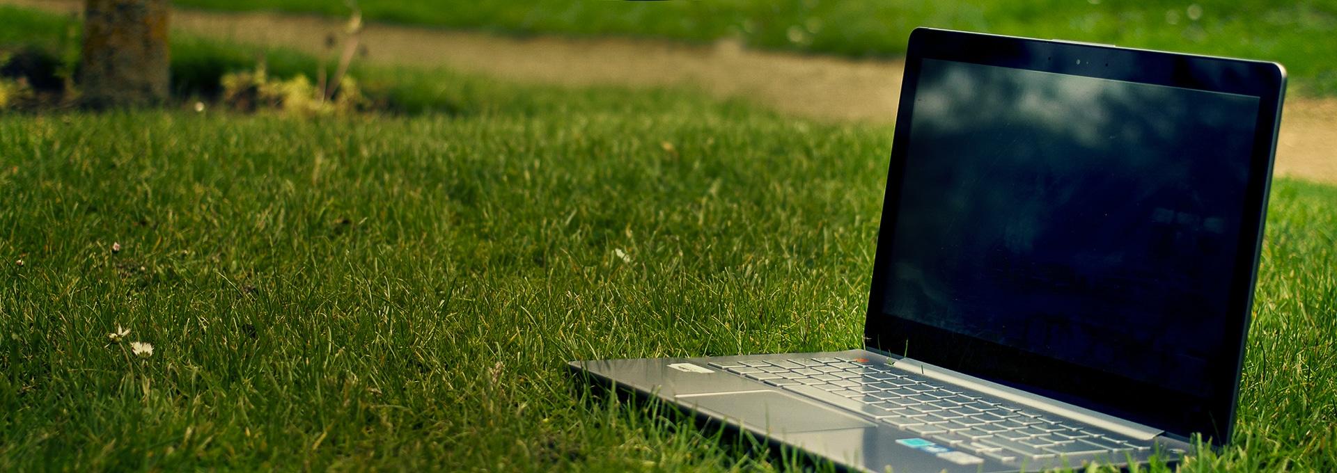 Bærbar PC i parken